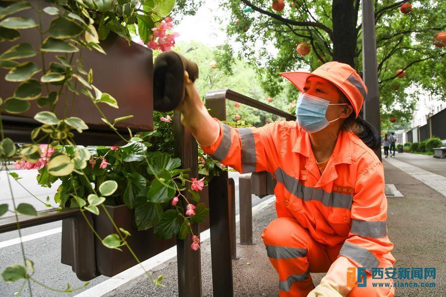 环卫工人在慈恩西路擦洗街景花架。(记者郝(2305535)-20210912084550.jpg